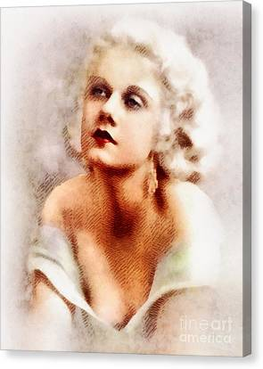 Jean Harlow, Vintage Actress By John Springfield Canvas Print by John Springfield