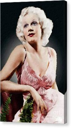 Jean Harlow Vintage Hollywood Actress Canvas Print by Mary Bassett