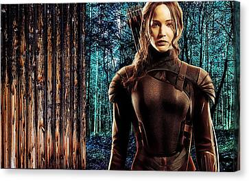 Movie Art Canvas Print - Jennifer Lawrence Collection by Marvin Blaine