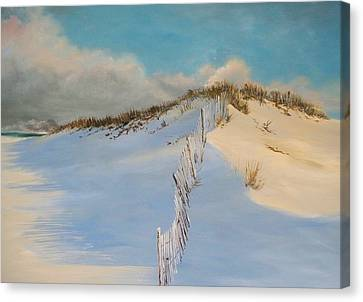 Canvas Print featuring the painting Jersey Dunes by Ken Ahlering
