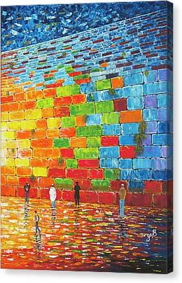 Western Ma Canvas Print - Jerusalem Wailing Wall Original Acrylic Palette Knife Painting by Georgeta Blanaru