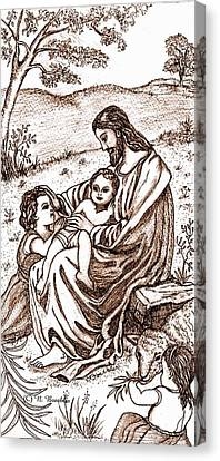 Jesus And The Children Canvas Print by Norma Boeckler