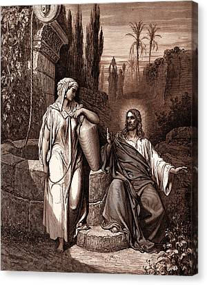 Jesus And The Woman Of Samaria Canvas Print by Gustave Dore