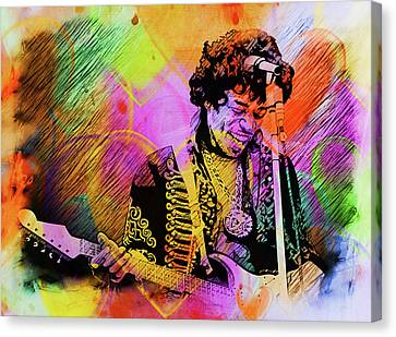 Canvas Print featuring the photograph Jimi Hendrix by Allen Beilschmidt