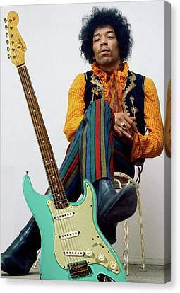 Michael Canvas Print - Jimi Hendrix, Fender Guitar by Thomas Pollart