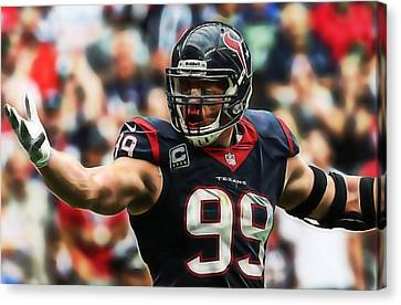 Football Canvas Print - J.j. Watt by Marvin Blaine