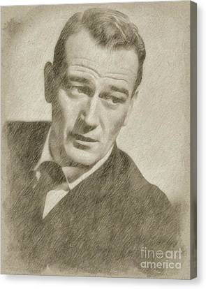 Hepburn Canvas Print - John Wayne Hollywood Actor by Frank Falcon
