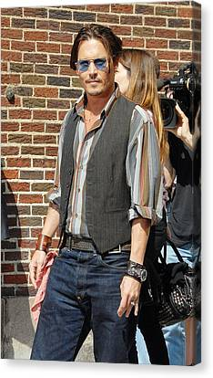 Johnny Depp At Talk Show Appearance Canvas Print by Everett