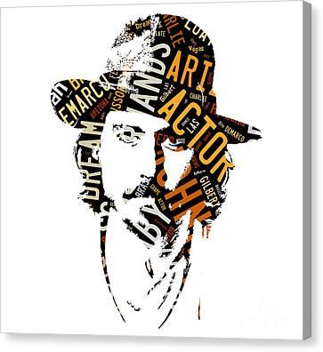 Johnny Depp Movie Titles Canvas Print by Marvin Blaine
