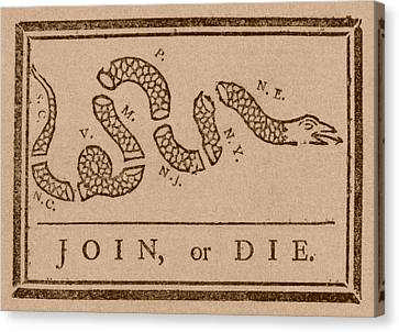 Join Or Die Canvas Print by War Is Hell Store