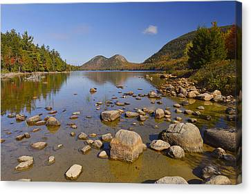 Canvas Print featuring the photograph Jordan Pond In Autumn by Stephen  Vecchiotti