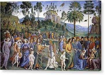 Journey Of Moses In Egypt Canvas Print by Pietro Perugino