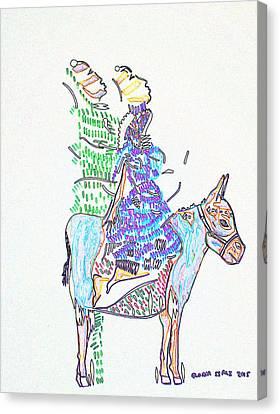 Journey To Bethlehem - Joseph And Mary Canvas Print by Gloria Ssali