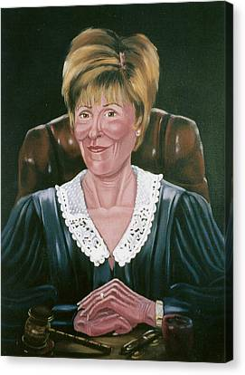Canvas Print featuring the painting Judge Judy by Susan Roberts