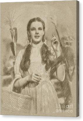 Judy Garland Vintage Hollywood Actress As Dorothy In The Wizard Of Oz Canvas Print by Frank Falcon