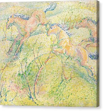 Jumping Horse Canvas Print - Jumping Horses by Franz Marc