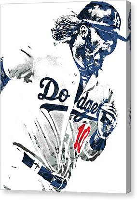 Justin Turner Los Angeles Dodgers Pixel Art Canvas Print by Joe Hamilton