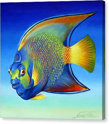 Juvenile Queen Angelfish Canvas Print by Nancy Tilles