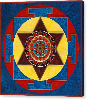 Kameshvari Yantra Blessings Sacred 3d High Relief Artistically Crafted Wooden Yantra  23in X 23in Canvas Print by Peter Clemens