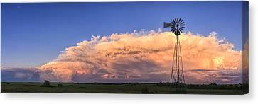 Kansas Storm And Windmill Canvas Print