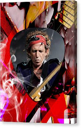 Electric Guitar Canvas Print - Keith Richards The Rolling Stones Art by Marvin Blaine