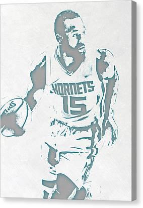 Kemba Walker Charlotte Hornets Pixel Art 3 Canvas Print by Joe Hamilton