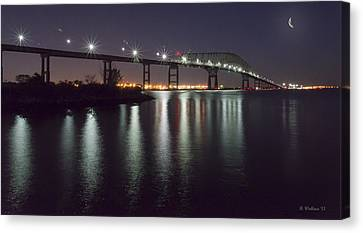 Key Bridge At Night Canvas Print by Brian Wallace