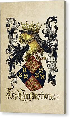 King Of England Coat Of Arms - Livro Do Armeiro-mor Canvas Print by Serge Averbukh