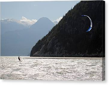 Kite Surfing The Spit In Squamish B.c Canada Canvas Print by Pierre Leclerc Photography