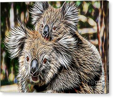 Koala Bear Mom And Child Canvas Print
