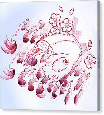 Koi Carp Tattoo Art Canvas Print by Samuel Whitton