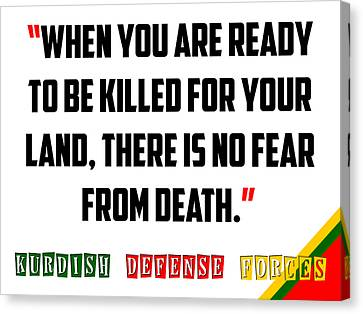 Kurdish Peshmerga Bravery Quote Poster Canvas Print