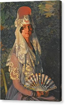 Lady With Mantilla And Fan Canvas Print by MotionAge Designs