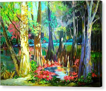 Canvas Print featuring the painting Lake Arthur Swamp by AnnE Dentler