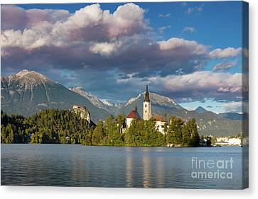 Canvas Print featuring the photograph Lake Bled Evening by Brian Jannsen