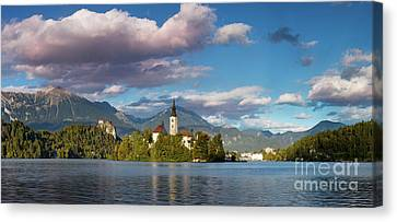 Canvas Print featuring the photograph Lake Bled Panoramic by Brian Jannsen