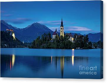 Canvas Print featuring the photograph Lake Bled Twilight by Brian Jannsen