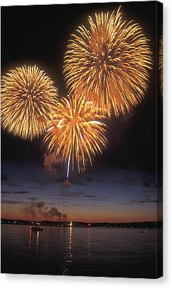 Lake Champlain Fireworks Canvas Print by John Burk