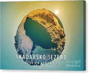 Lake Skadar 3d Little Planet 360-degree Sphere Panorama Canvas Print by Frank Ramspott