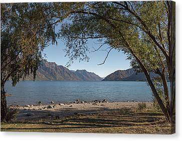 Canvas Print featuring the photograph Lake Wakatipu Shore Early Morning by Gary Eason