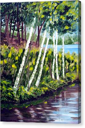 Lakeside Birches Canvas Print by Anne Trotter Hodge