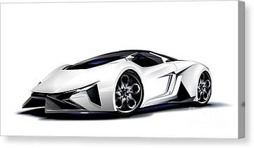 Canvas Print featuring the digital art Lamborghini by Brian Gibbs