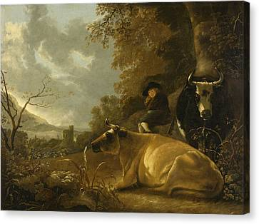 Landscape With Cows And A Shepherd Boy Canvas Print
