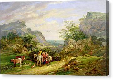 Landscape With Figure Canvas Print - Landscape With Figures And Cattle by James Leakey