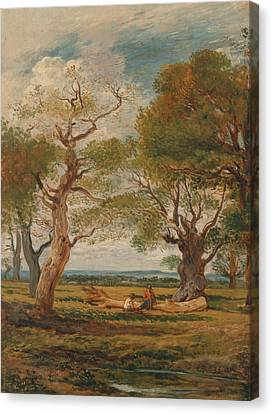 Landscape With Figure Canvas Print - Landscape With Figures by John Linnell