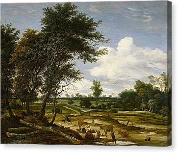 Landscape With Shepherd And Cattle Canvas Print