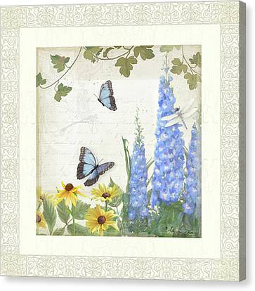 Canvas Print featuring the painting Le Petit Jardin 1 - Garden Floral W Butterflies, Dragonflies, Daisies And Delphinium by Audrey Jeanne Roberts