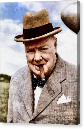 Leaders Of Wwii - Winston Churchill Canvas Print by John Springfield