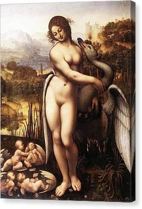 Leda And The Swan Canvas Print by Leonardo da Vinci