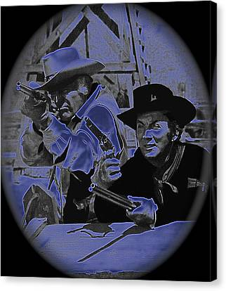 Leif Erickson And Cameron Mitchell  The High Chaparral Old Tucson Arizona 1969 Canvas Print